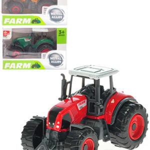 Traktor farmářský 8cm volný chod kovový 3 barvy v krabičce