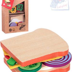 WOODY DŘEVO Sada výroba sendviče dětské makety potravin v taštičce