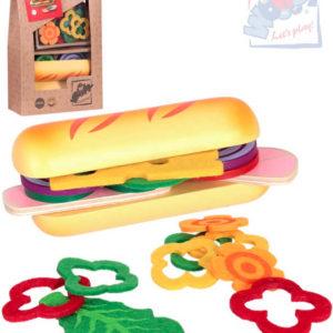 WOODY DŘEVO Sada výroba bagety dětské makety potravin v taštičce
