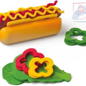 WOODY DŘEVO Sada výroba párku v rohlíku dětské makety potravin v taštičce