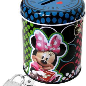 Pokladnička dětská kulatá Minnie Disney set se zámkem a 2 klíčky plechová