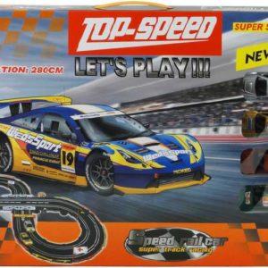 Autodráha Top-Speed 280cm 2 dráhy 4 auta 10cm na baterie v krabici