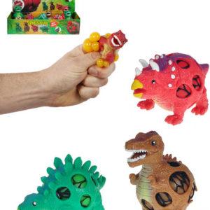 Dinosaurus strečový mačkací 9cm s míčkem v síťce 3 druhy