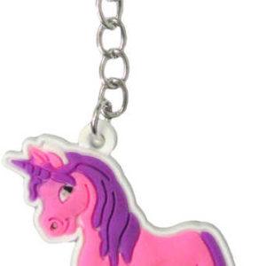 Přívěšek jednorožec růžovo-fialový na klíče plast