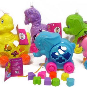 Zvířátko plastové na kolečkách na vkládání tvarů VKLÁDAČKA 6 druhů