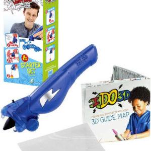 IDO3D Vertikal magické pero modré 5 projektů 3D kreslení tuhne pod UV světlem set s doplňky