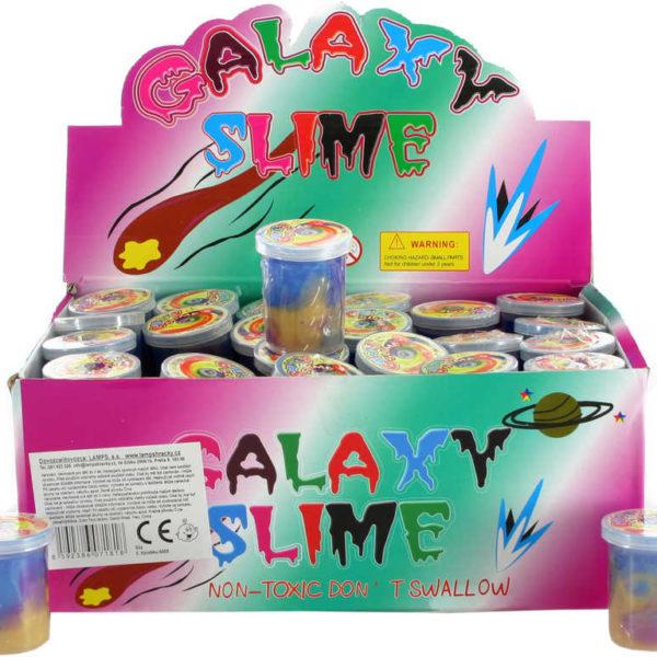 Sliz metalický barevný galaxy slime 4x5cm zábavná hmota v plastové lahvičce