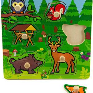 DŘEVO Baby vkládačka lesní zvířátka puzzle s úchyty DŘEVĚNÉ HRAČKY