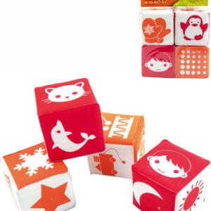 Baby soft kostky měkké s obrázky set 4ks v sáčku pro miminko