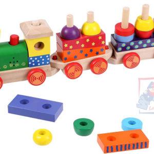WOODY DŘEVO Vlak navlékací set mašinka + 2 vagonky Světlo Zvuk
