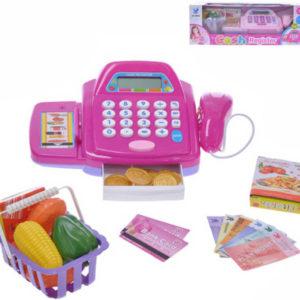Pokladna dětská registrační set s doplňky na baterie Světlo Zvuk 2 barvy