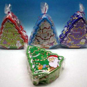 Pokladnička plechová vánoční stromek 4 barvy v sáčku