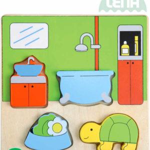 LENA DŘEVO Baby vkládačka koupelna 18x14cm puzzle vkládací 32143
