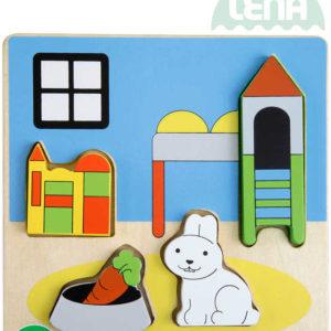 LENA DŘEVO Baby vkládačka dětský pokoj 18x14cm puzzle vkládací 32144