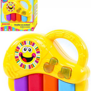 Baby klavír veselý žluté pianko na baterie 4 klávesy Světlo Zvuk pro miminko
