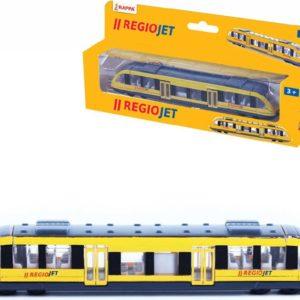 Vlak regionální žlutý model Regiojet 17cm kovový v krabičce