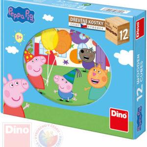 DINO DŘEVO Kostky obrázkové Peppa Pig set 12ks kubus DŘEVĚNÉ HRAČKY