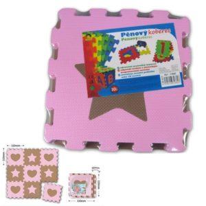 PUZZLE Koberec soft puzzle 9 ks SRDÍČKA A HVĚZDIČKY měkké bloky na zem