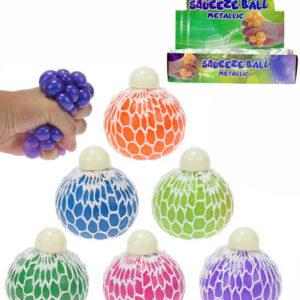 Míček síťkový strečový metalický s glitry 6cm antistresový s bublinami 6 barev