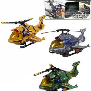 Vrtulník vojenský na baterie 26cm Světlo Zvuk plast 3 barvy v krabici