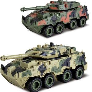 Tank 4WD kovový zpětný nátah otočná věž na baterie Zvuk 2 barvy