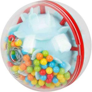 Baby chrastítko koule 7cm ježek s kuličkami pro miminko plast