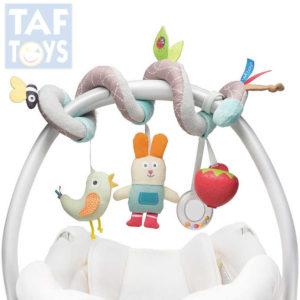 TAF TOYS Baby spirála textilní na kočárek chrastítko kousátko pro miminko