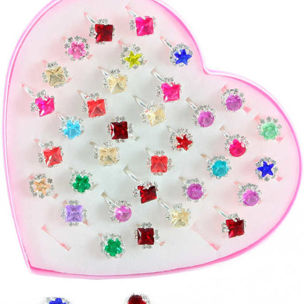 Prstýnek dětský s kamínkem různé druhy plast