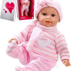 Panenka Arias miminko vonící 45cm měkké tělo růžový obleček pláče na baterie Zvuk