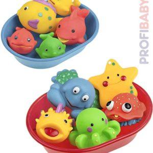 PROFIBABY Baby set vanička + 5 mořských zvířátek do vody 2 druhy pro miminko