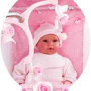 DECUEVAS Postýlka Maria pro panenku miminko set s jídelním setem a kolotočem