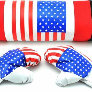 Boxerský dětský set pytel boxovací + rukavice 1 pár potisk vlajka USA v síťce