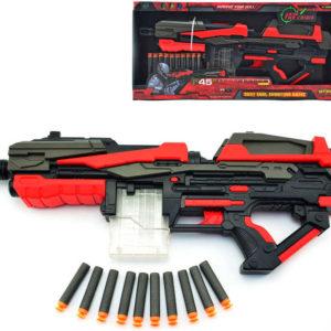 Set pistole dětská 54cm + pěnové náboje 10ks na baterie v krabici