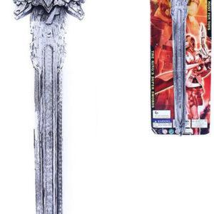 Meč dětský rytířský 58cm stříbrný zdobený plast na kartě