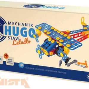 VISTA SEVA Mechanik Hugo staví Letadlo STAVEBNICE 144 dílků set s nářadím v krabici