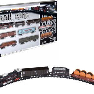 Rail King ovál 122x68cm vlakový set mašinka + vagonek 9ks na baterie Světlo