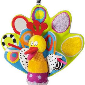 TAF TOYS Baby ptáček nezbedný závěsný textilní s aktivitami pro miminko