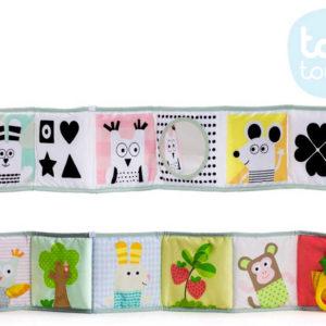 TAF TOYS Baby knížka textilní 3v1 rozkládací oboustranná 15x82cm pro miminko