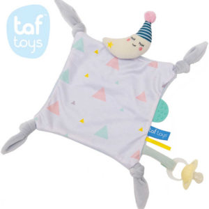 TAF TOYS Baby Muchláček měsíček kapesníček s uzlíky s kousátkem pro miminko