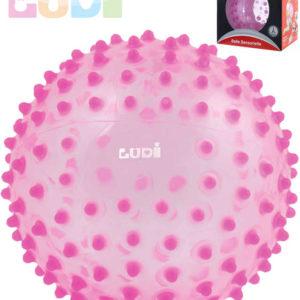 LUDI Baby míček senzorický růžový s výstupky relaxační balonek pro miminko