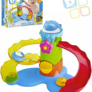B-KIDS Baby tobogán barevný s vodním mlýnkem set se 2 zvířátky plast pro miminko