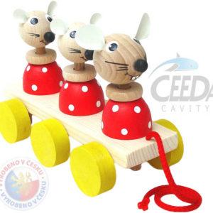 CEEDA DŘEVO 3 myšky tahací pohyblivé DŘEVĚNÉ HRAČKY