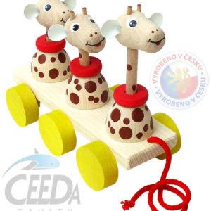 CEEDA DŘEVO 3 žirafy tahací pohyblivé DŘEVĚNÉ HRAČKY