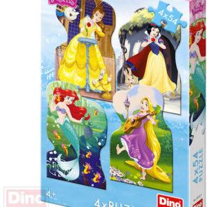 DINO Puzzle 4x54 dílků obrysové Princezny 13x19cm skládačka 4v1 v krabici