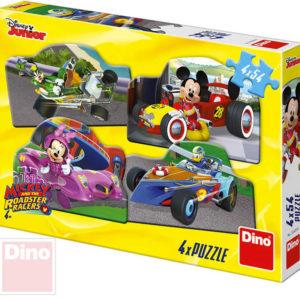 DINO Puzzle 4x54 dílků Mickey a Minnie na závodech 19,5x13,5cm skládačka 4v1