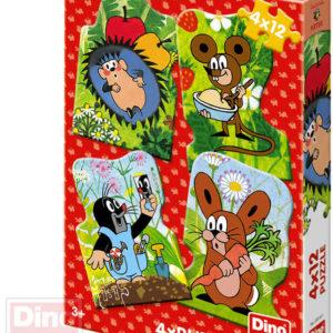 DINO Puzzle 4x12 dílků obrysové Krtek (Krteček) 13x19cm skládačka 4v1
