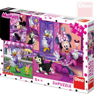DINO Puzzle 3x55 dílků Den s Minnie 18x18cm skládačka 3v1 v krabici