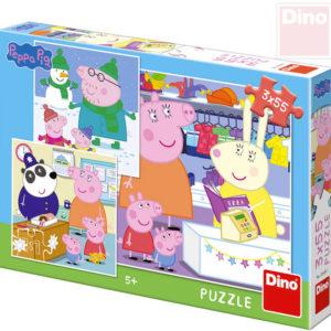 DINO Puzzle 3x55 dílků Peppa Pig Veselé odpoledne 18x18cm skládačka 3v1