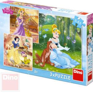 DINO Puzzle 3x55 dílků Princezny 18x18cm skládačka 3v1 v krabici