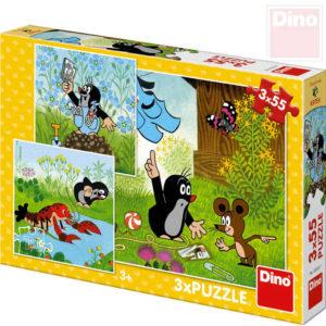 DINO Puzzle 3x55 dílků Krtek a kalhotky (Krteček) 18x18cm skládačka 3v1